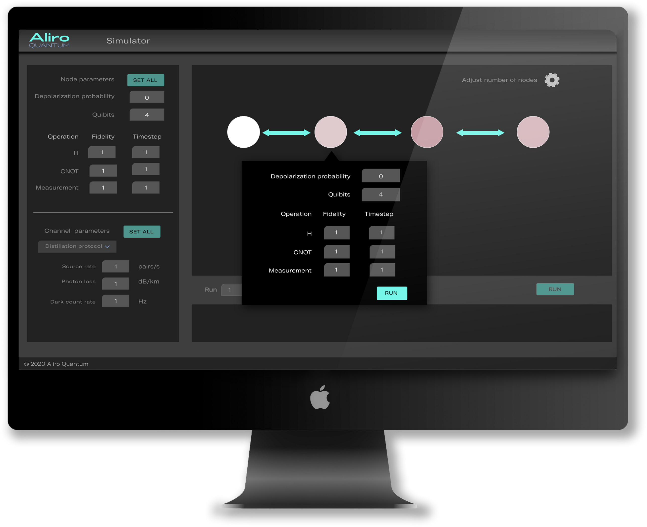 Aliro Q.Network graphical interface featuring web-based network design platform